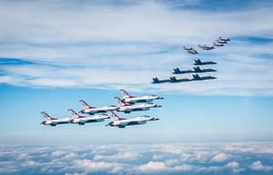 US Navy Blue Angels, USAF Thunderbirds, Canadian Forces Snowbirds Joint Formation Flight