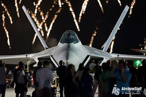 USAF F-22 Raptor and Fireworks - EAA AirVenture Oshkosh 2015