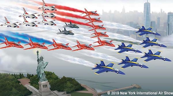 US Navy Blue Angels, RAF Red Arrows, USAF F-35 Lightning IIs, USAF Thunderbirds to perform Hudson River and Statue of Liberty Flyover - AirshowStuff