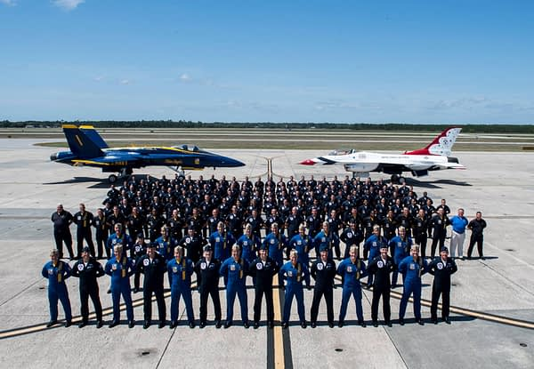 US Air Force Thunderbirds and US Navy Blue Angels Group Photo