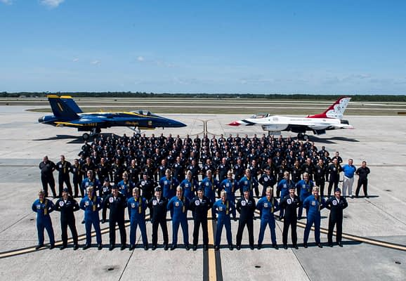 US Air Force Thunderbirds Visit US Navy Blue Angels In Pensacola For Joint Training, Formation Photo Flight