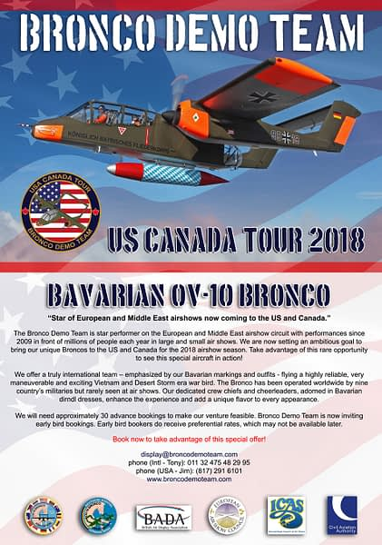OV-10 Bronco Demo Team - North American Tour Info
