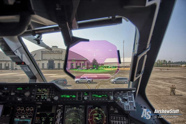 Heads Up Display (HUD) in the cockpit of Royal Air Force Airbus A400M Atlas Mobility Guardian 2017