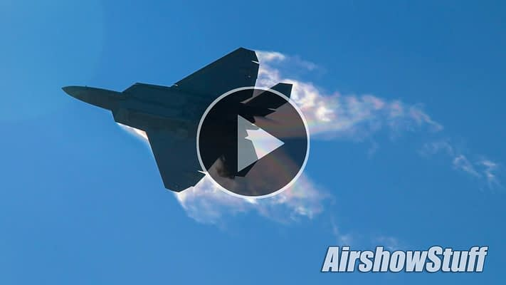 WATCH:  F-22 Raptors Arrive In Oshkosh With Vapor And Afterburners!