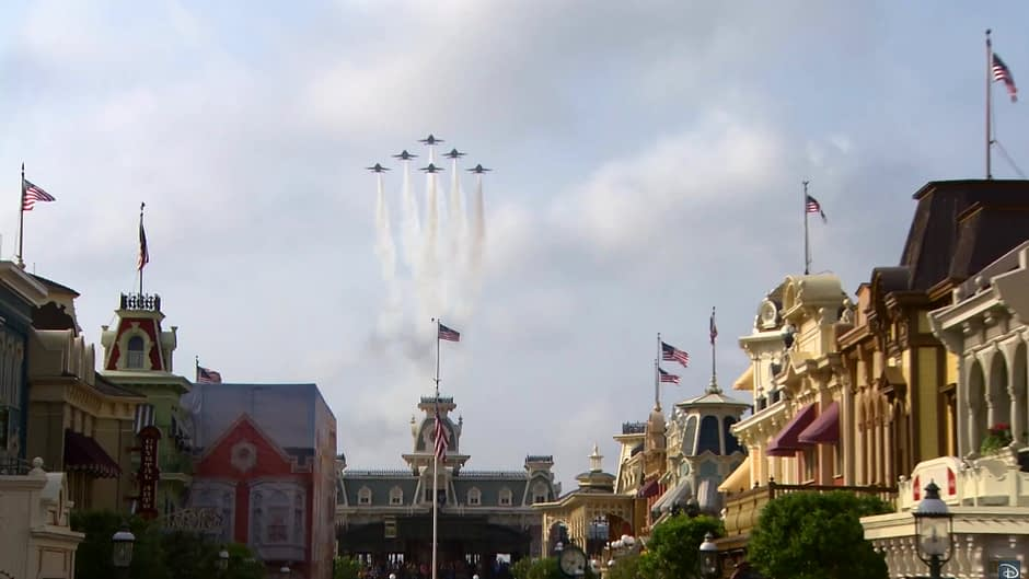 US Navy Blue Angels Fly Over Disney World