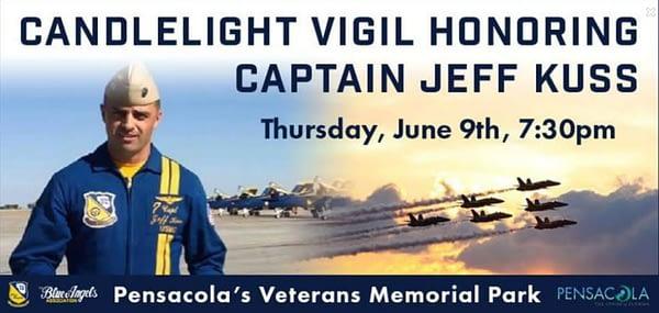 Candlelight Vigil to Honor Blue Angel 6 Marine Capt Jeff Kuss