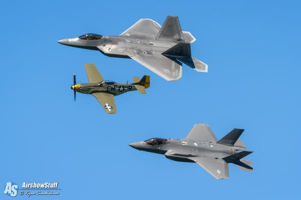 US Air Force Heritage Flight - P-51 Mustang, F-22 Raptor, F-35 Lightning II