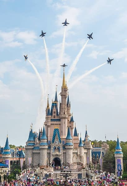 US Navy Blue Angels Fly Over Walt Disney World - Cinderella's Castle - Magic Kingdom - AirshowStuff