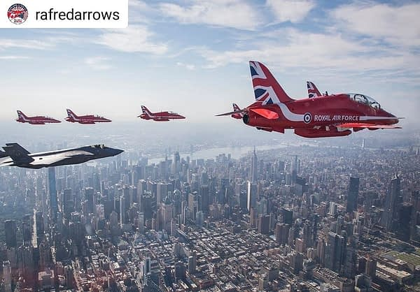 RAF Red Arrows and F-35 Demo Team - New York City Flyover - AirshowStuff