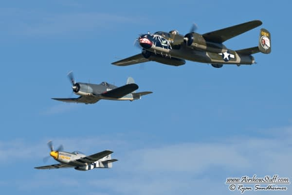 B-25 Mitchell, F4U Corsair, P-51 Mustang Formation - Arsenal of Democracy Flyover in Washington DC