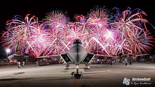 F-22 Raptor, F-35 Lightning II, P-38 Lightning and Fireworks - EAA AirVenture Oshkosh 2015