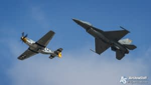 USAF F-16 Fighting Falcon and P-51 Mustang Heritage Flight - Thunder Over Michigan 2015
