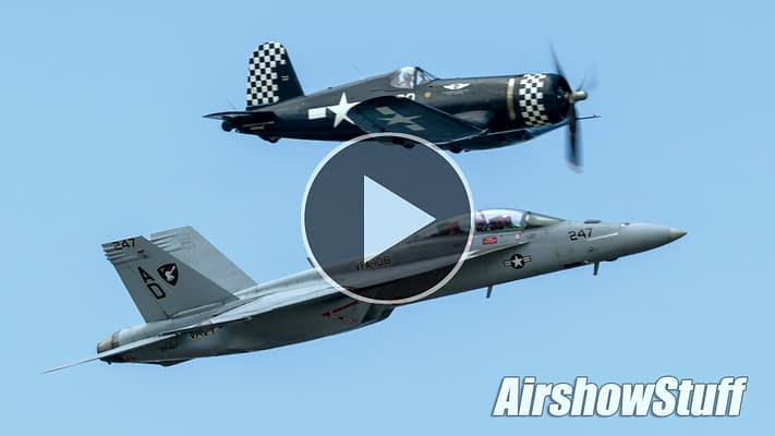 WATCH: This Rare Super Hornet/Corsair Formation Showcases Decades Of Naval Aviation History
