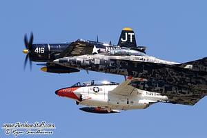 US Navy Legacy Flight - F4U Corsair, F/A-18F Super Hornet, T-2 Buckeye
