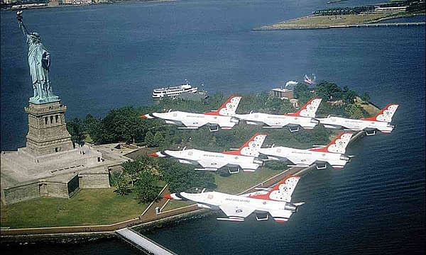 USAF Thunderbirds Flyover Statue of Liberty in New York City