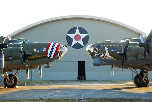 """B-17 Flying Fortress """"Memphis Belle"""" and """"Shoo Shoo Shoo Baby"""" - National Museum of the United States Air Force"""