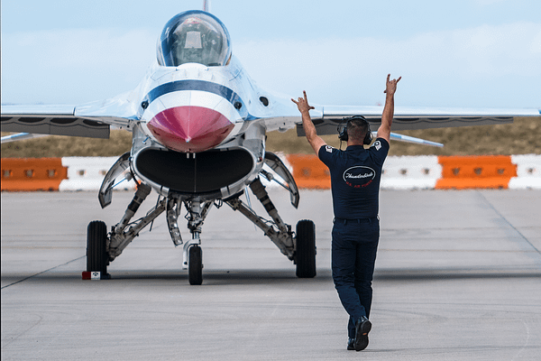 Dedicated Crew Chief for Thunderbird #3 Launching Out His Pilot
