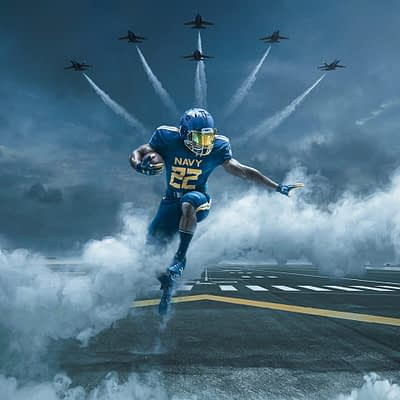 "Naval Academy Unveils ""Blue Angels"" Uniforms For 2017 Army-Navy Football Game"