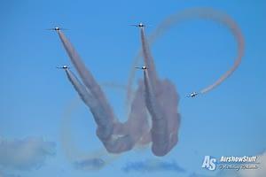 Canadian Snowbirds Practice - Lag Back Cross - Air Force Beach, BC