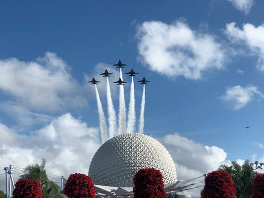 Blue Angels Treat Disney Visitors To Special Epcot Flyover