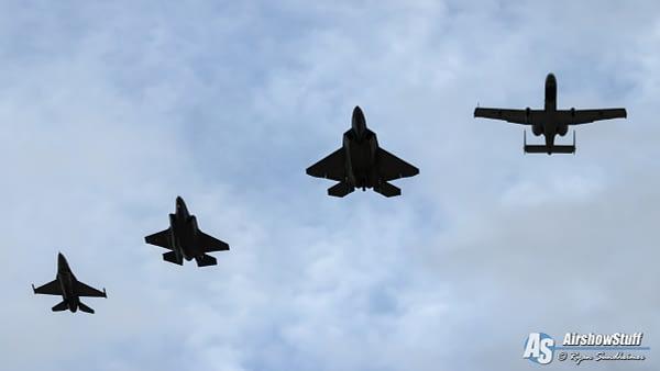 USAF Single-Ship Demonstration Team Formation - A-10 Thunderbolt II, F-22 Raptor, F-35 Lightning II, F-16 Fighting Falcon - AirshowStuff