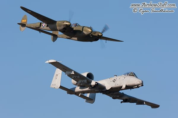 US Air Force Heritage Flight - A-10 Thunderbolt II and P-38 Lightning