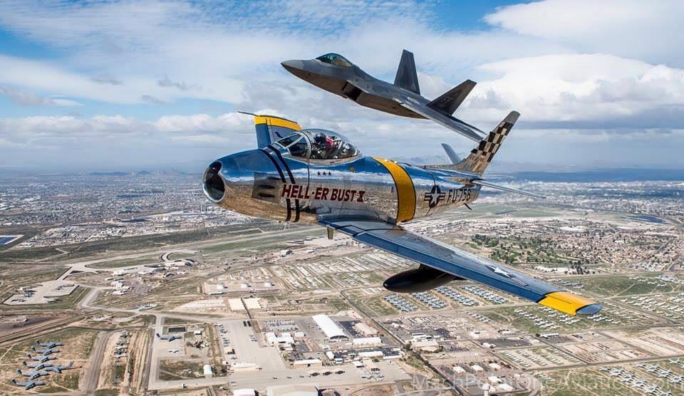 F-22 Raptor and F-86 Sabre Air to Air - USAF Heritage Flight