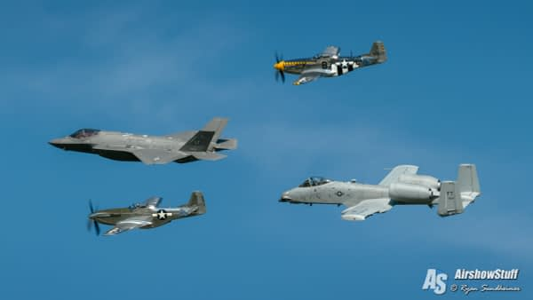 US Air Force Heritage Flight - F-35 Lightning II, A-10 Warthog, P-51 Mustangs
