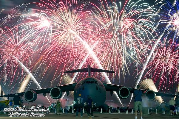 C-17 Globemaster III and Fireworks - EAA AirVenture Oshkosh 2014