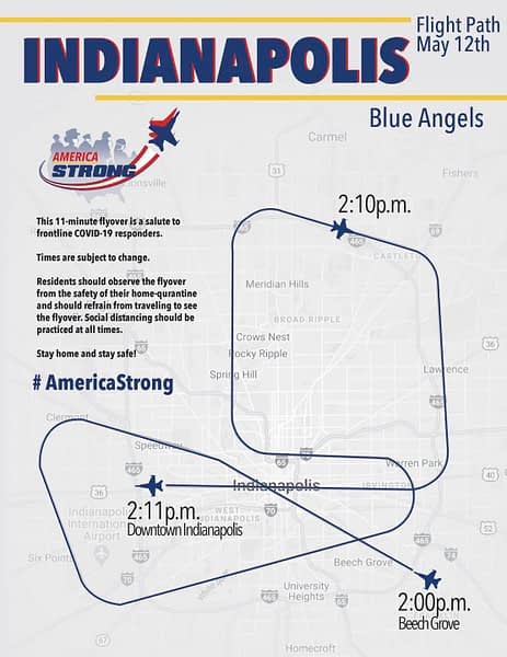 US Navy Blue Angels Indianapolis Flyover Route - Operation America Strong - AirshowStuff