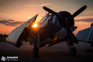 TBM Avenger at sunset