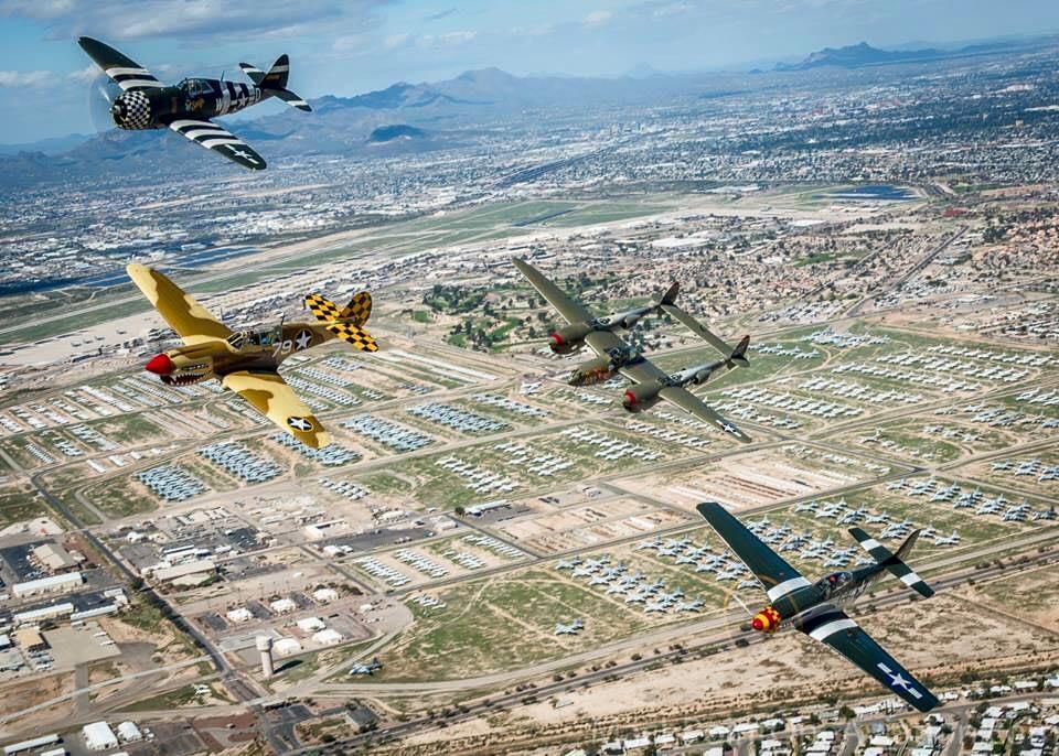 P-38 Lightning, P-40 Warhawk, P-51 Mustang, P-47 Thunderbolt Air to Air - USAF Heritage Flight