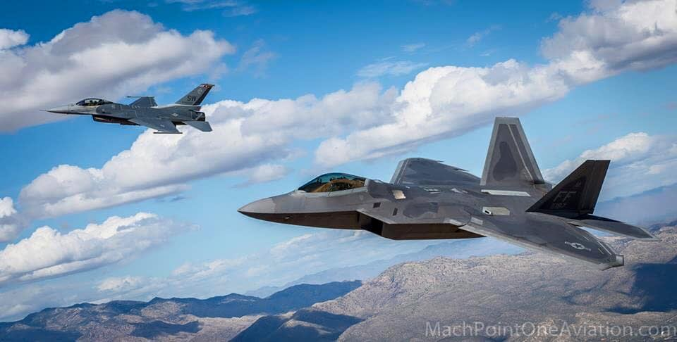 F-22 Raptor and F-16 Fighting Falcon Air to Air - USAF Heritage Flight