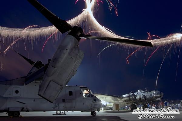 V-22 Osprey and B-17 Flying Fortress Fireworks