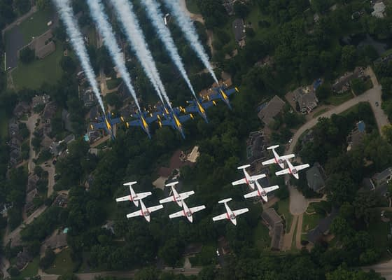Blue Angels and Snowbirds Fly Together In Rare Joint Photo Shoot