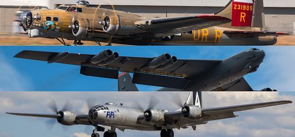 Barksdale AFB Airshow - B-17 B-29 B-52 Bomber Heritage Flight 2016