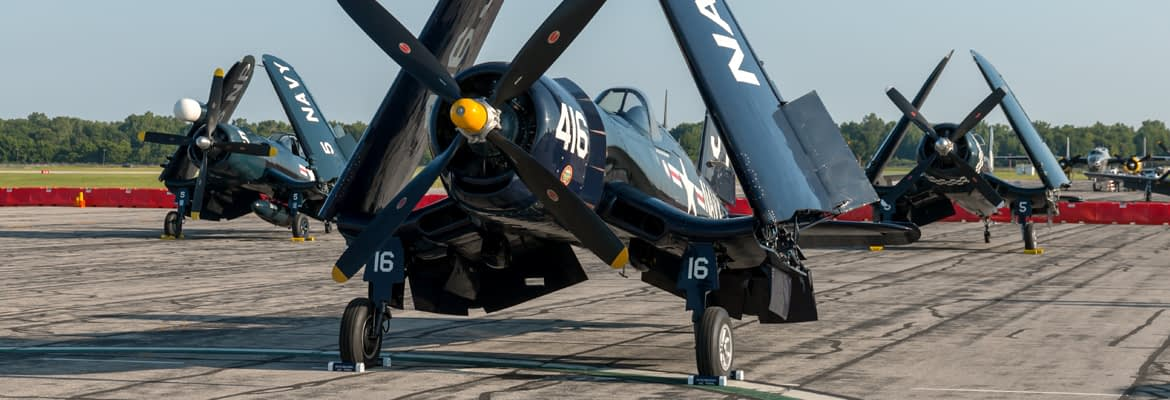 "F-4U Corsairs on Ramp - ""Corsair Crazy"" Thunder Over Michigan - AirshowStuff"