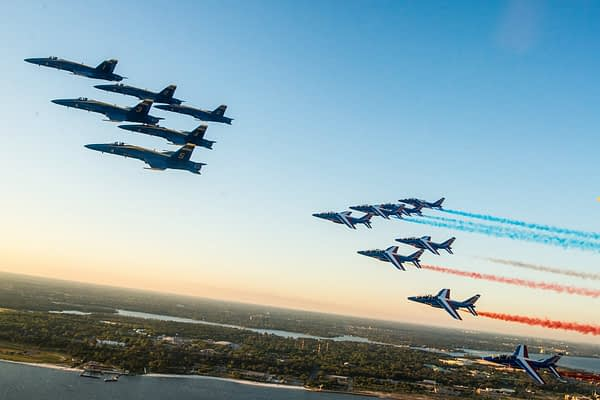 RARE SIGHT: Blue Angels and Patrouille de France Fly Together