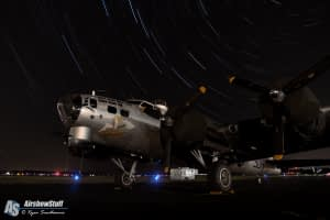 """B-17 Flying Fortress """"Aluminum Overcast"""" Star Trails - Heavy Bombers Weekend 2015"""