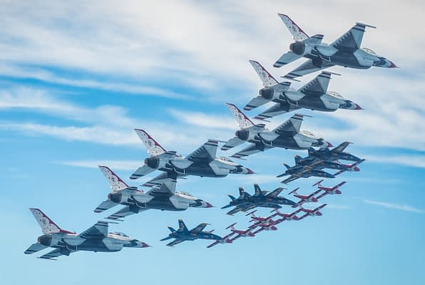 Blue Angels, Thunderbirds, And Snowbirds Combine For Incredible 21-Ship Mass Formation