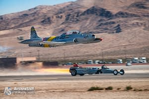 Ace Maker T-33 Shooting Star Smoke-N-Thunder JetCar Race Aviation Nation 2016 Nellis AFB Las Vegas Nevada