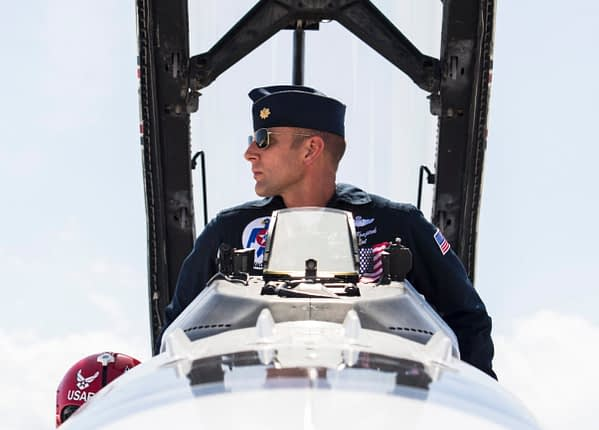 """Maj. Nick """"Khan"""" Krajicek has been named as the U.S. Air Force Air Demonstration Squadron's Thunderbird 4/Slot Pilot for the remainder of the 2018 show season."""