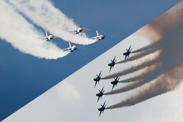 US Navy Blue Angels And USAF Thunderbirds Adopt Chemtrail Smoke To Aid Recruitment