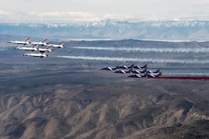 Patrouille de France and USAF Thunderbirds Fly Together
