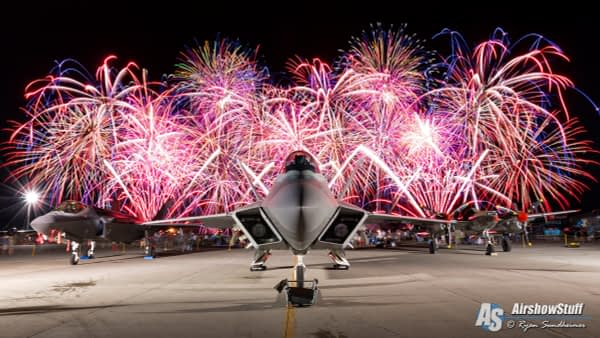 F-22 Raptor, F-35 Lightning II, and P-38 Lightning Under Fireworks - EAA AirVenture Oshkosh 2015