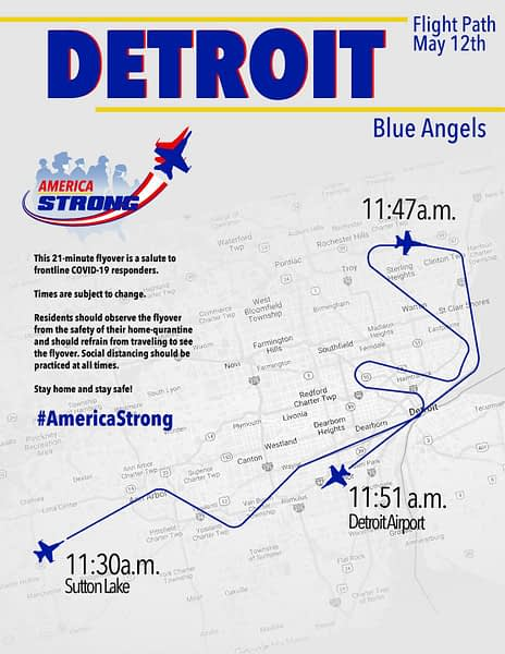 US Navy Blue Angels Detroit Flyover Route - Operation America Strong - AirshowStuff