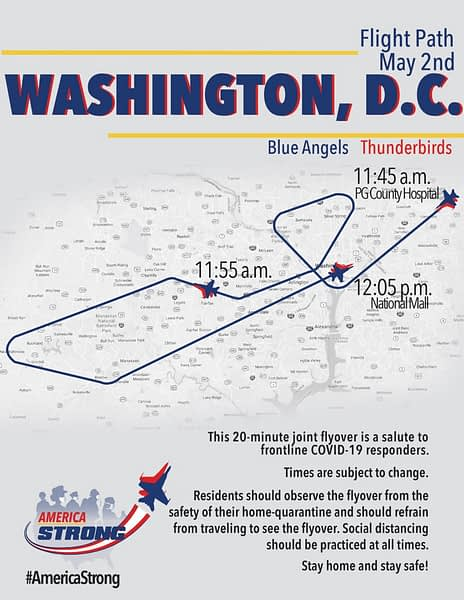 US Navy Blue Angels/US Air Force Thunderbirds Flyover Route Map - AirshowStuff
