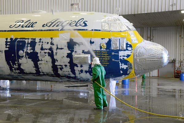 Fat Albert Loses Famous Blue Angel Paint Scheme As Part Of Maintenance Overhaul