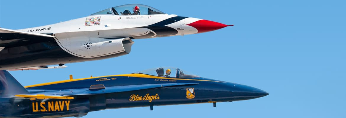 US Navy Blue Angels and US Air Force Thunderbirds - AirshowStuff