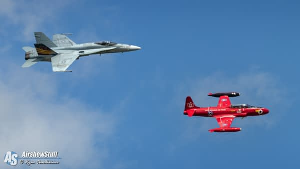CF-18 Hornet and T-33 Red Knight Heritage Flight - Airshow London 2019 - AirshowStuff